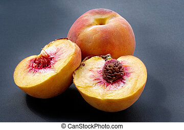 Ripe juicy fleshy peaches - Ripe juicy fleshy cut peaches