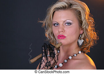 Smoking girl - Young blond woman with big cigar