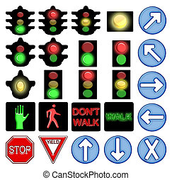 Traffic lights - Set of icons for American style traffic...