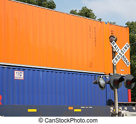 Orange and Blue - Orange and blue freight train cars