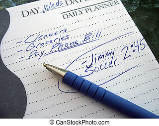 busy day - a very busy schedule - written out on a daily...