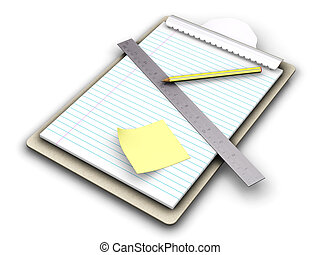 Clipboard - 3D render of a clipboard with post it note,...