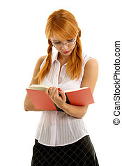 reading - lovely redhead reading red book