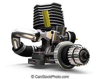 Car engine - 3D render of a car engine