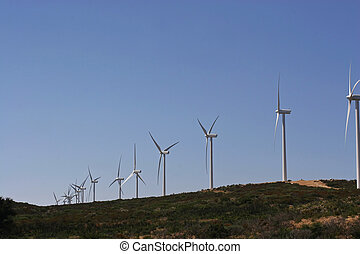 wind turbines - A row of wind turbines