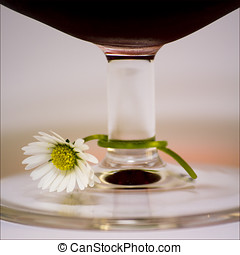 glass of wine and flower
