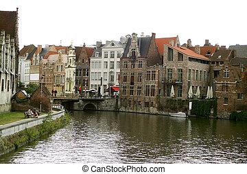 Belgian canal - Canal in Gent, Belgium