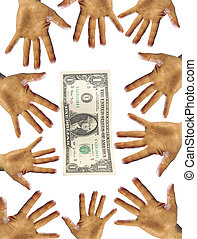 Wild business - many hands with one US dollar isolated as...