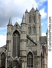 gothic church - St Nicholas Church in Gent, Belgium