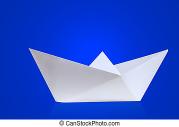 Paper ship - Paper boat with blue background