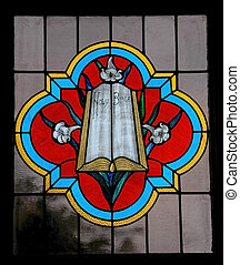 Stained Glass - Holy Bible in colorful Stained Glass