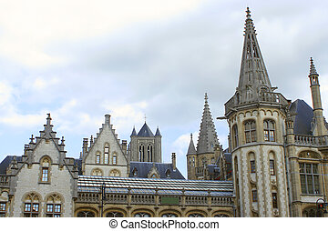 Ghent steeples - Steeples architecture of Ghent,  Belgium