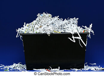 Shredded Paper In Box - isolated shredded paper in black box