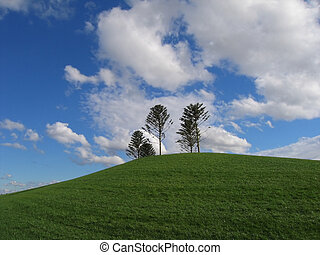 Hill at Docklands - Green hill and blue sky (Australia,...