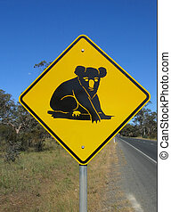 Beware of Koala - Australian native animal koala road sign