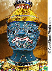 Temple Demon - Buddhist demon at the Wat Phra Kaeo or Grand...
