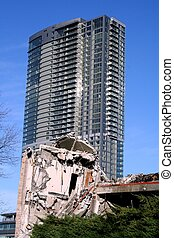 Old and New - older building in process of being demolished...