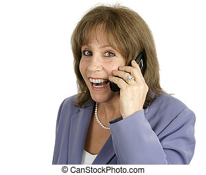 Businesswoman on Cellphone - Surprised - An attractive...