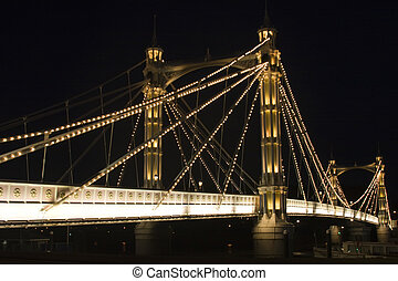 albert Bridge - The albert Bridge at night in London.