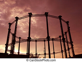 steel frame - A steel frame of a Gas tower in London