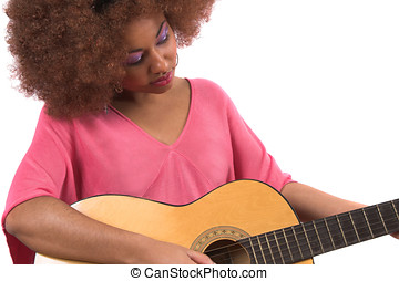 Guitar babe - Beautiful afro woman playing her guitar