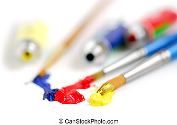 Primary colors paintbrush - Macro of paintbrushes and paint...