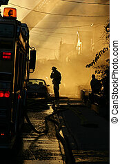 Fireman resting - Fireman resting after exiting a burning...