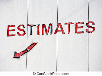 Stock Photo of a Sign for quot;Estimatesquot;Stock Photo of...