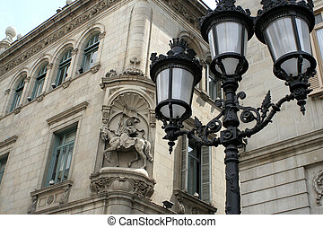 streetlight - Decorative streetlamp and architecture in...
