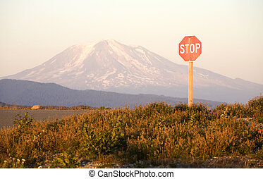 Stop Sign and Mount Adams - Stop sign and Mount Adams, taken...