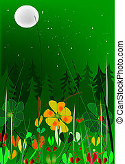 nightscape - landscape with flower and forest in the moon...