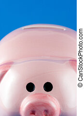 Closeup Piggy Bank - Closeup of the fornt of a pot money box