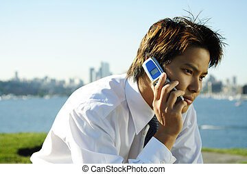 Businessman - A businessman making a phone call