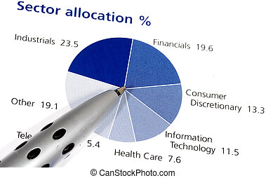 Pie Chart - Photo of a Pen on a Pie Chart - Asset Allocation