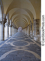 Venice - The vaulted colonnade at the front of the Doges...