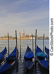 Venice - Gondola moored at Molo San Marco in Venice Italy...