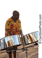 Caraíbas, músico, &, aço, Tambores
