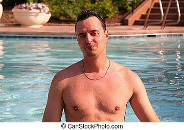 Guy in the Pool on Vacation