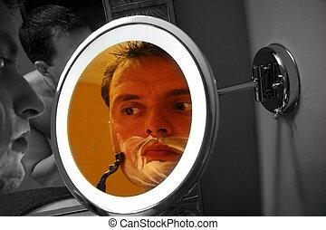 Guy Shaving in Mirror