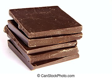 Chocolate squares - 5 large squares of chocolate, stacked...