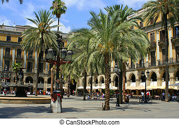 Spain plaza - plaza with restaurants in Barcelona, Spain