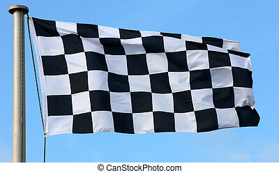 Checkered Flag - A checkered flag blowing in the wind