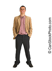 Businessman #214 - Businessman in a pink shirt and camel...