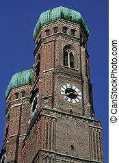 Frauenkirche Munich - The two dome towers of Frauenkirche in...