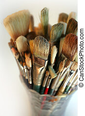 Vase of used brushes - A very shallow depth-of-field image...