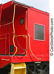 Red Caboose - Red caboose on railroad track