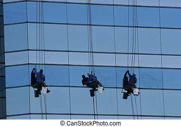 Window Washers 3 - Window washers on side of highrise