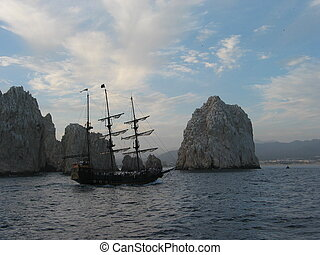 Baja Pirate Ship - Pirate ship near large rocks off the tip...