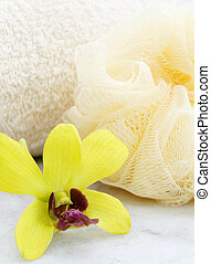 Bath Series - a towel, a scrubber and an orchid