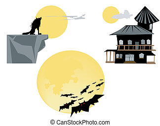 Full Moon - Bats, wolf and haunted house illustration